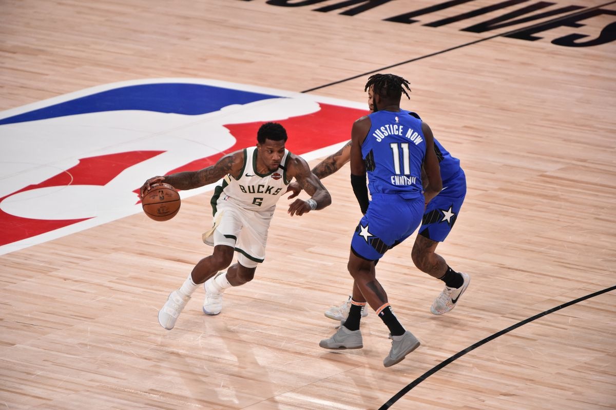 Eric Bledsoe of the Milwaukee Bucks drives against the Orlando Magic for Game five of the first round of the 2020 Playoffs as part of the NBA Restart 2020 on August 29, 2020 at AdventHealth Arena in Orlando, Florida.