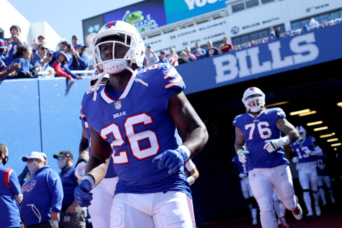 Devin Singletary #26 of the Buffalo Bills runs to the field prior to a game against the Washington Football Team at Highmark Stadium on September 26, 2021 in Orchard Park, New York.
