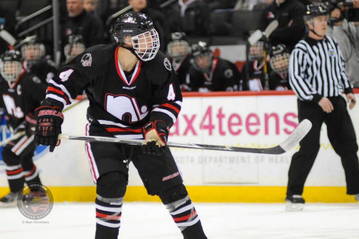 Ryan Poehling playing in the 2015 Minnesota Class AA Boy's Hockey State Tournament.