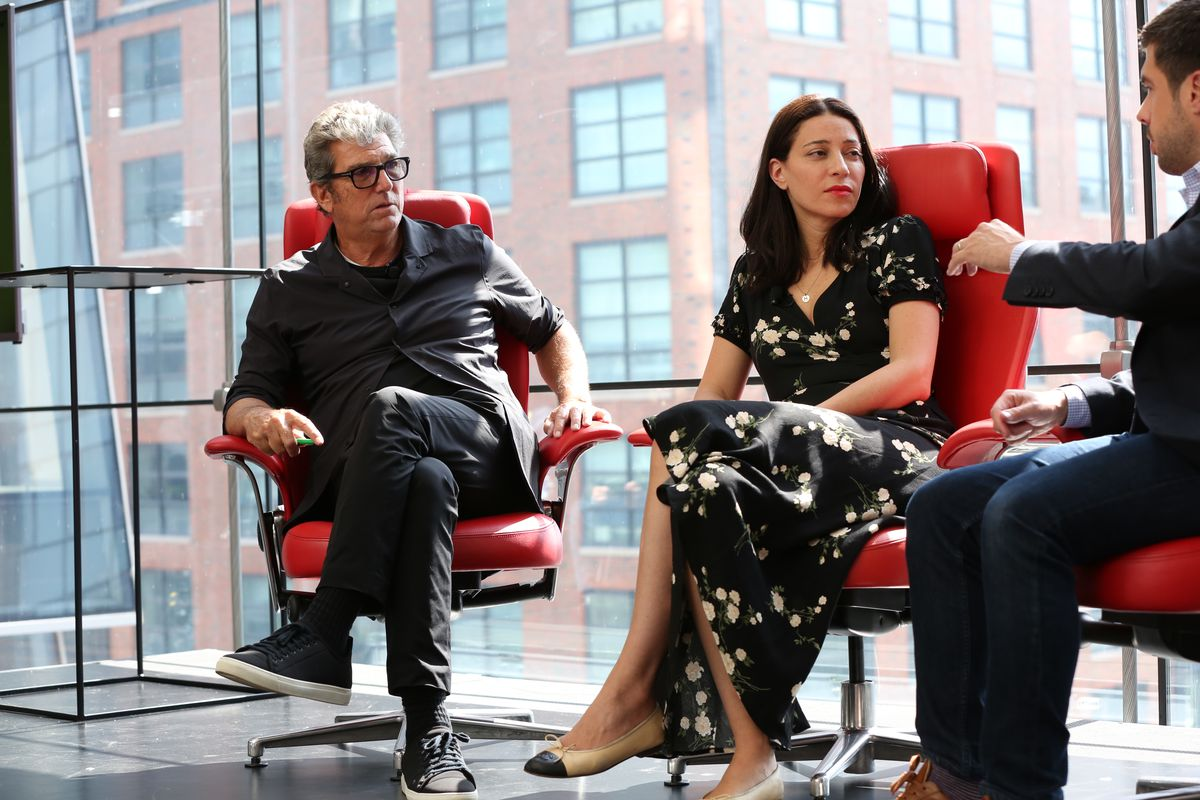 Andrew Rosen, founder and president of Theory, and Yael Aflalo, founder and CEO of Reformation, onstage at Code Commerce