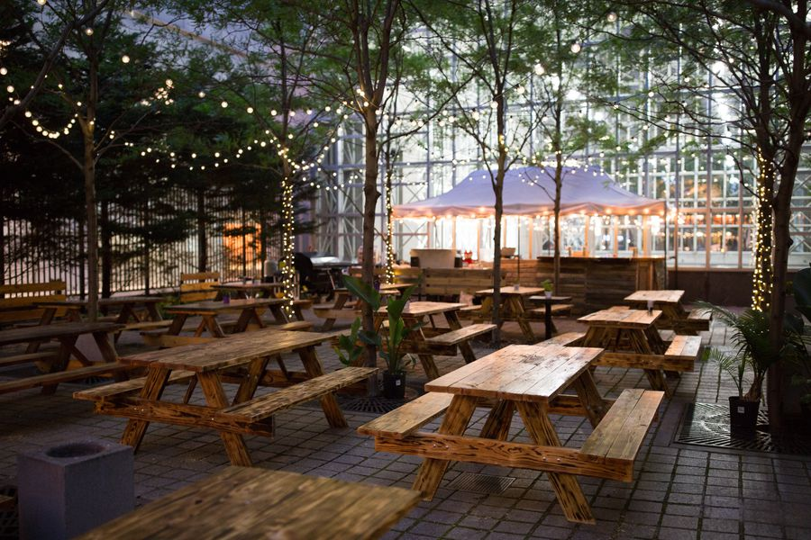 Check out uptown beer garden 39 s new look for 2016 eater - Jonathan s restaurant garden city ...