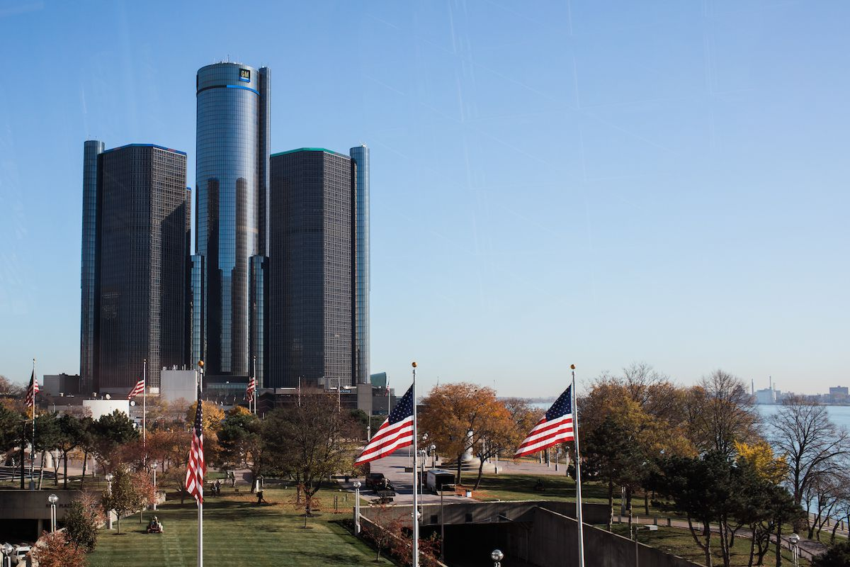 A group of three tall buildings.