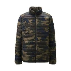 """<strong>Uniqlo</strong> Ultra Light Down Jacket In Olive Print, <a href=""""http://www.uniqlo.com/us/store/lifewear/men-ultra-light-down-jacketprint/080221-57?ref=mens-clothing%2Fcollections%2Fultra-light-down-coats """">$69.90</a>"""