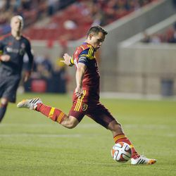 Real Salt Lake midfielder Luis Gil (21) shoots a goal attempt during a game at Rio Tinto Stadium in Sandy on Saturday, March 29, 2014.