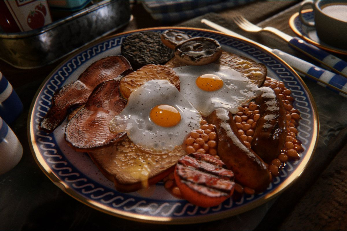 A full breakfast, including eggs, bacon, sausage, beans, and toast is rendered realistically in Dreams