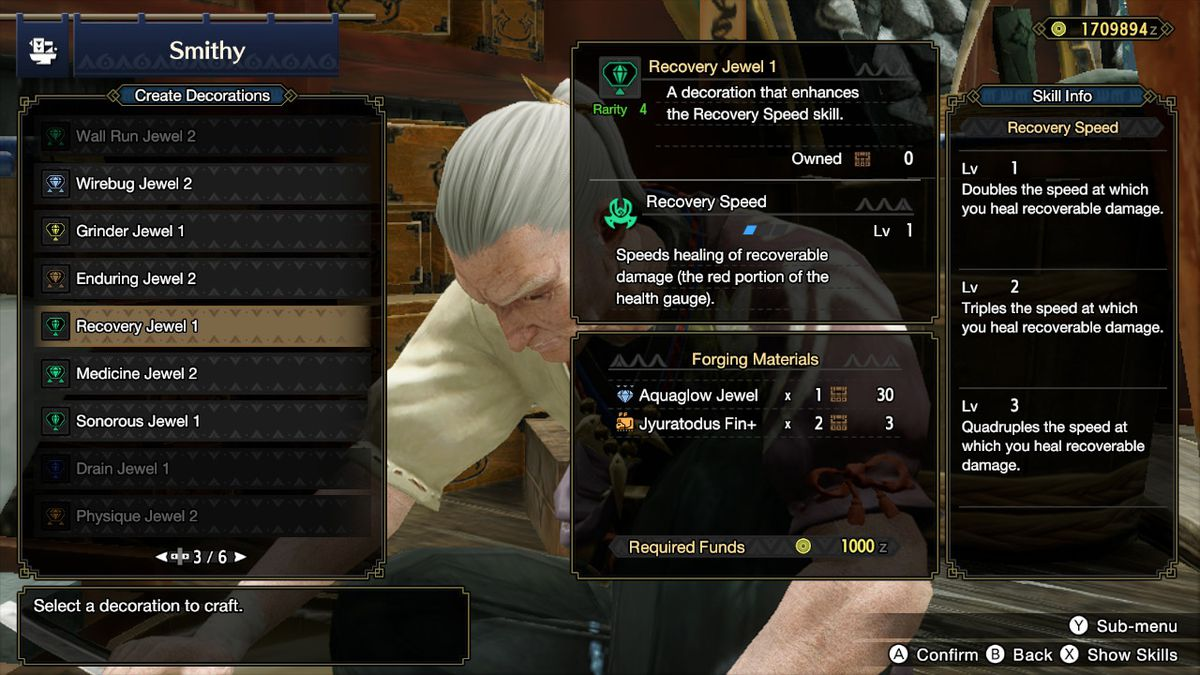 The create decorations screen in Monster Hunter Rise