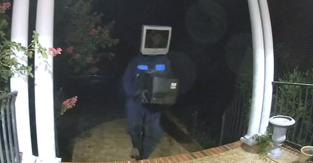 Human Dressed as TV Trolls Town by Leaving TVs on People's Porches