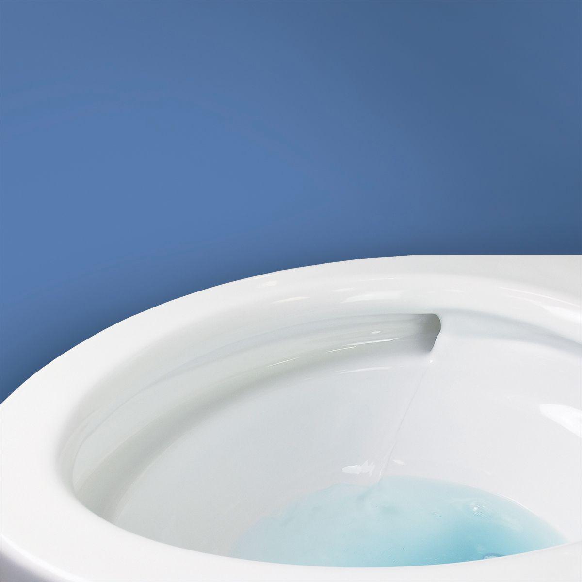 Rim jet toilet.