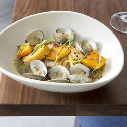 Skate Wing— Cider-steamed clams, wood-roasted delicata squash, and rutabaga