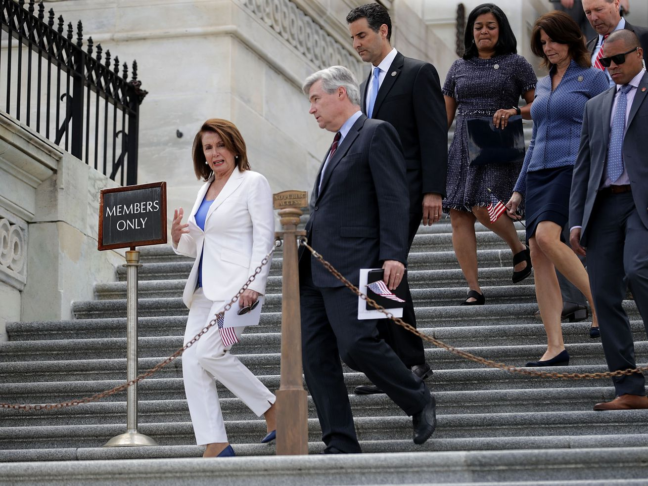 House Democrats, including Minority Leader Nancy Pelosi (left) and Rep. John Sarbanes (third from left), descend the House steps.