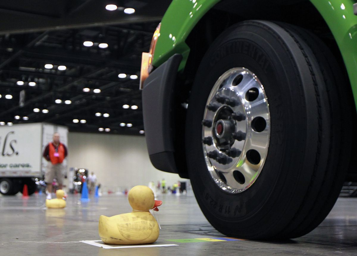 A rubber ducky acts as a marker at one portion of the driving contest