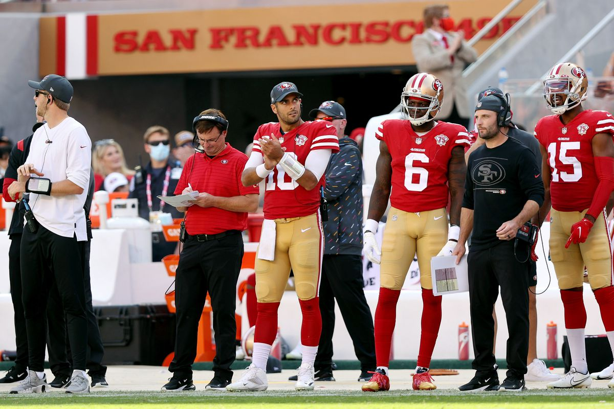 Jimmy Garoppolo #10 of the San Francisco 49ers on the bench during the game against the Seattle Seahawks at Levi's Stadium on October 03, 2021 in Santa Clara, California.