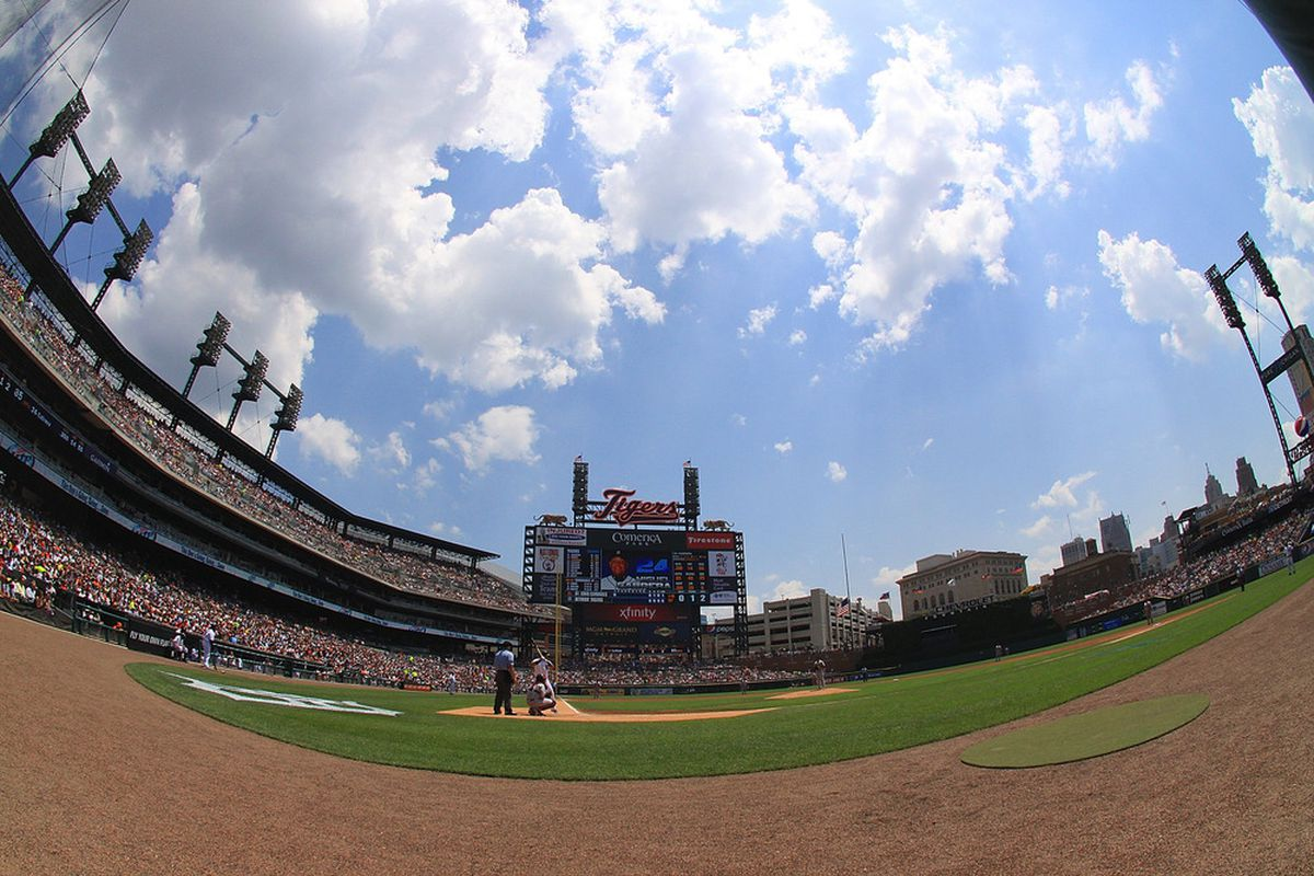 DETROIT, MI - JUNE 21:  The Detroit Tigers and the St Louis Cardinals play a a MLB interleague game at Comerica Park during between the on June 21, 2012 in Detroit, Michigan.  (Photo by Dave Reginek/Getty Images)