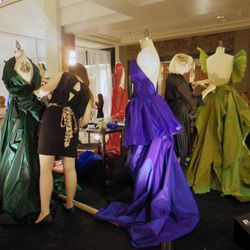 FIDM students race the clock as they add the final touches to their red carpet gown designs.