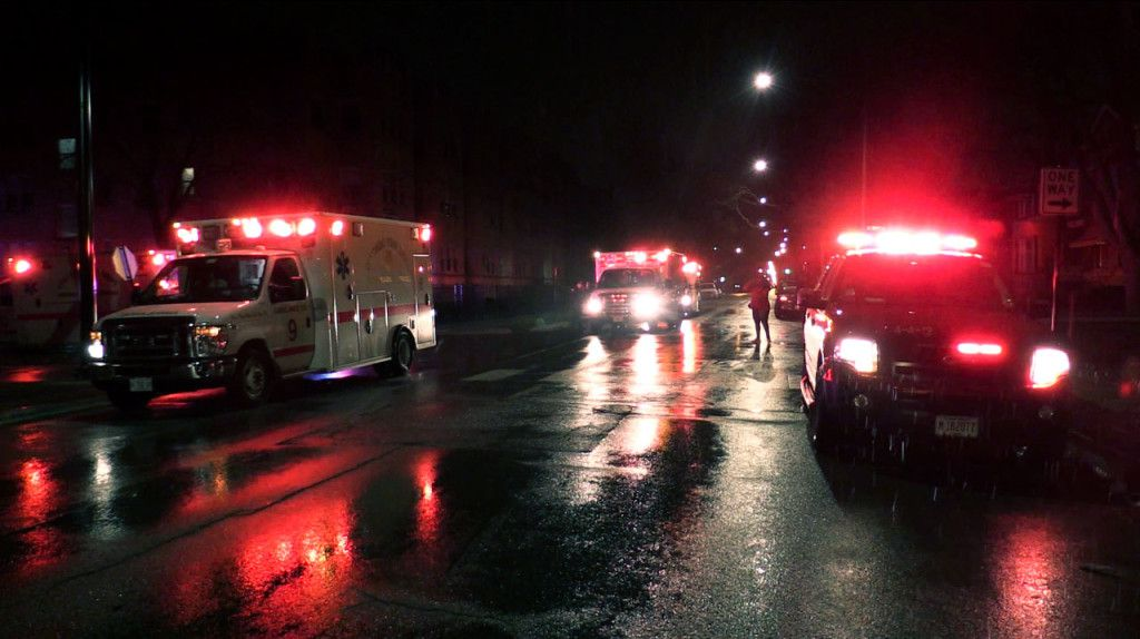 Emergency crews respond to a crash early Saturday that left five people injured, including two Chicago Police officers. | Justin Jackson/Sun-Times
