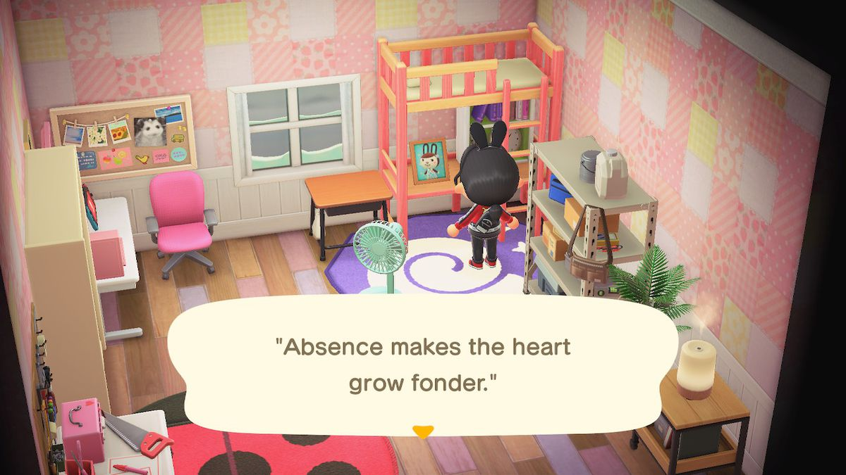 """An Animal Crossing character interacts with a photo of Carmen, a brown rabbit. A quote on the photo reads """"Absence makes the heart grow fonder."""""""