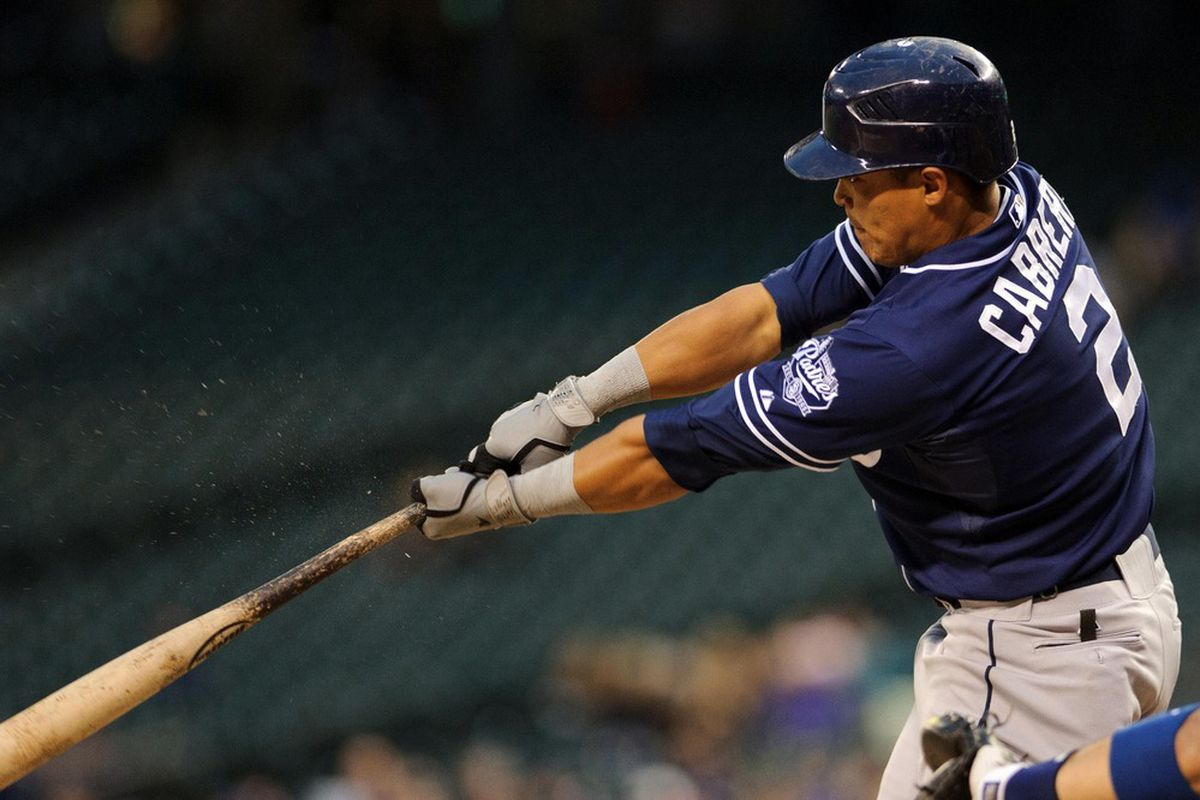 Seattle, WA, USA; San Diego Padres shortstop Everth Cabrera (2) hits a double against the Seattle Mariners during the 6th inning at Safeco Field. San Diego defeated Seattle 1-0. Mandatory Credit: Steven Bisig-US PRESSWIRE