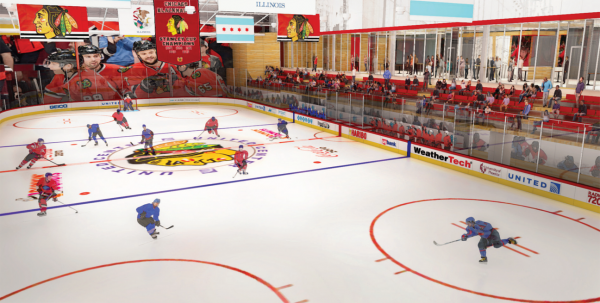 <small><strong> A rendering of one of the ice rinks inside the Blackhawks practice center on the West Side.   Provided</strong></small>