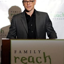 """In this photo taken on Tuesday, Sept. 18, 2012, actor Matt Damon speaks at a press conference before """"Cooking Live With Chef Ming Tsai and Friends"""" to benefit the Family Reach Foundation and it's mission to help families fighting pediatric cancer in New York. Damon is the sous-chef to celebrity chef Ming Tsai at the all-star live cooking event held at the Ritz Battery Park."""