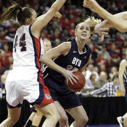 Brigham Young Cougars forward Kristen Riley (35) drive son Gonzaga Bulldogs forward Kelly Bowen (44)  in the West Coast Conference finals in Las Vegas  Monday, March 5, 2012.  BYU won the title and will advance to the NCAA tournament.