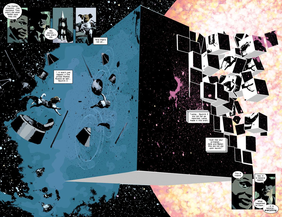 """Over a double page spread, Laika the Russian cosmonaut dog floats out of her disintegrating craft and into a psychedelic cube floating in space, which is also breaking up into smaller cubes with Laika inside them. """"Just like your primates [... Laika] did not die upon launch,"""" says a mysterious man. """"This is insane,"""" replies Dr. Pembrook. """"What happened to them, replies the man, it is beyond everything,"""" in Primordial #1."""