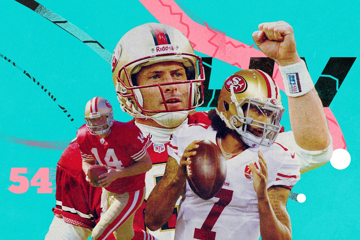 An art collage of former 49ers QBs Colin Kaepernick, Steve Young, JT O'Sullivan, superimposed on a teal background with pink and black lines