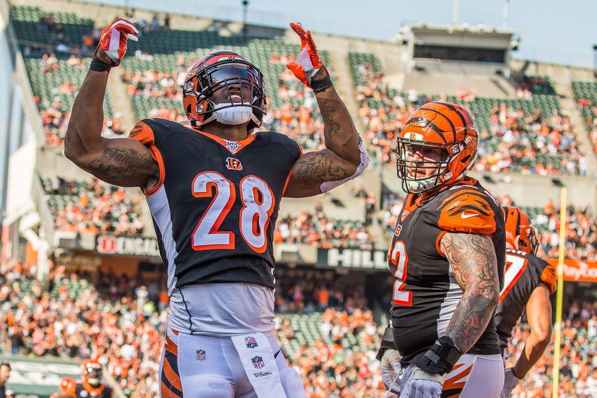 Cincinnati Bengals running back Joe Mixon celebrates his touchdown in the second quarter against the Jacksonville Jaguars at Paul Brown Stadium.