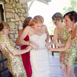 """""""Here I am with my ladies doing last minute finishings. I made the dress months before the wedding so we were all excited it zipped up!"""""""