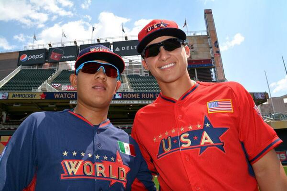 Julio Urias (left) and Corey Seager (right) played in the 2014 Futures Game in July. Joc Pederson (not pictured) did so in 2013.