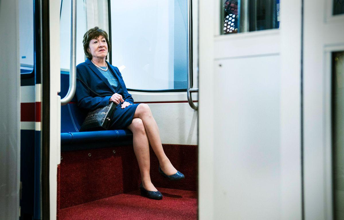 Sen. Susan Collins on the Senate subway in Washington, DC