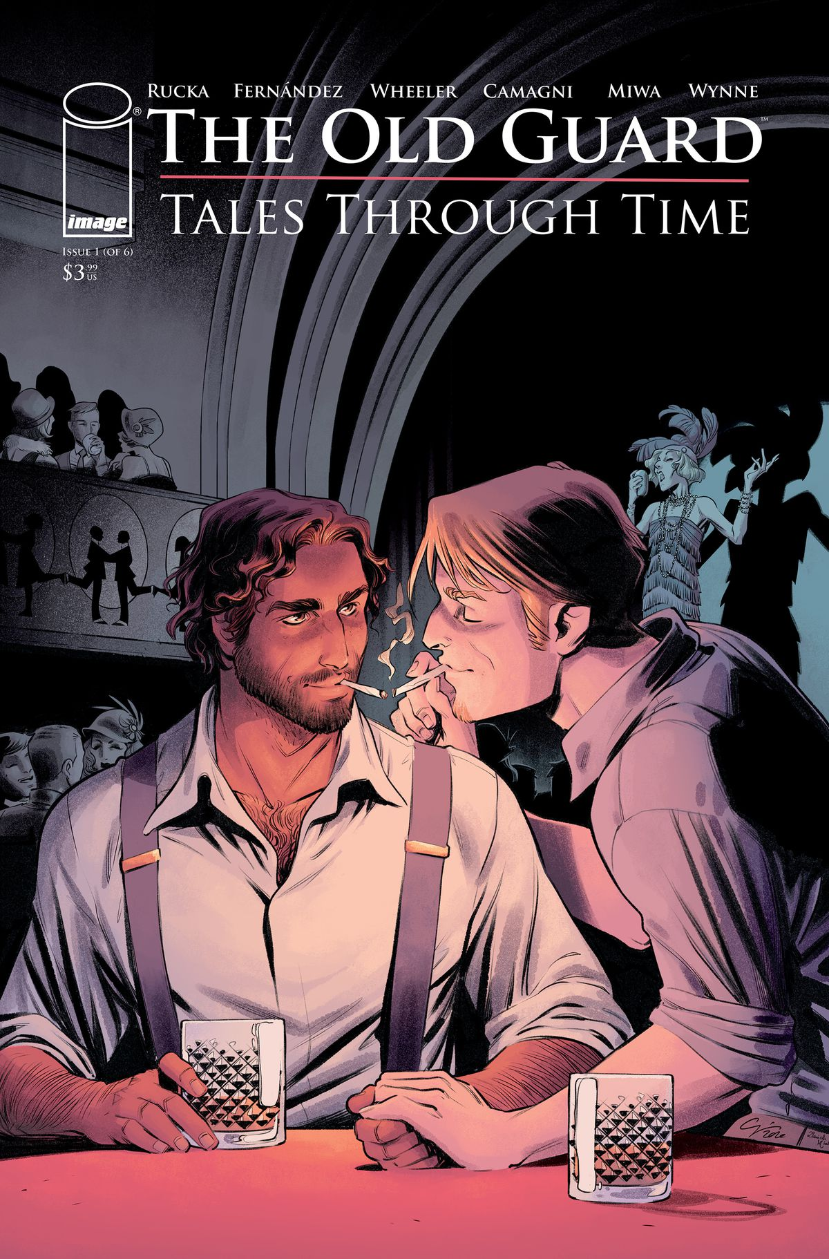 The Old Guard: Tales Through Time issue #1 cover - Nicky and Joe sit at a bar with a woman singing in the background during WWII