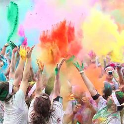 By the end of the Color Run, runners have been sprayed with a variety of colors.