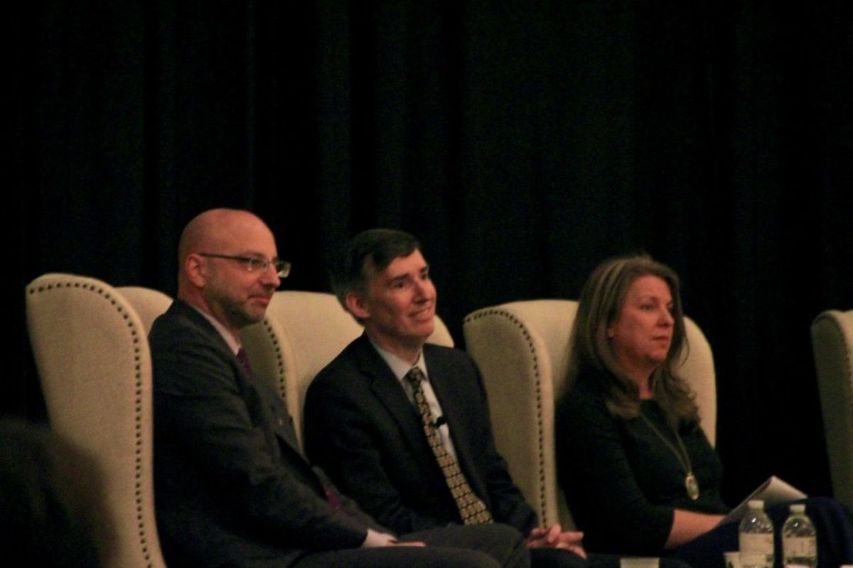 Chris Barbic (left) speaks at panel alongside Mark Gleason of the Philadelphia School Partnership and Mary Seawell of the Gates Family Foundation. Barbic returned to Memphis for a forum on K-12 philanthropy.