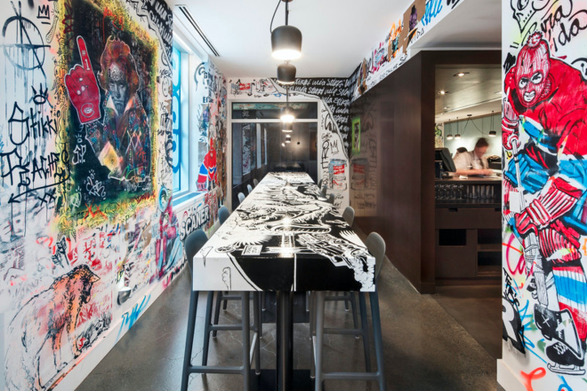 """Photos by <a href=""""http://www.stephanebrugger.com/"""">Stephane Brugger</a> via <a href=""""http://www.contemporist.com/2015/12/04/the-walls-of-this-restaurant-in-montreal-are-purposely-covered-in-graffiti/"""">Contemporist.</a>"""
