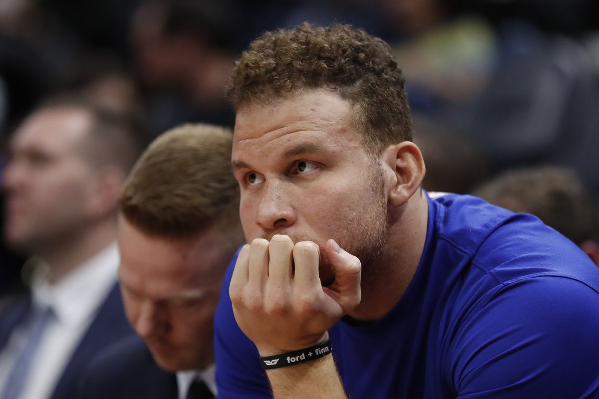 Detroit Pistons forward Blake Griffin sits the bench with an injury against the Utah Jazz at Vivint Smart Home Arena.