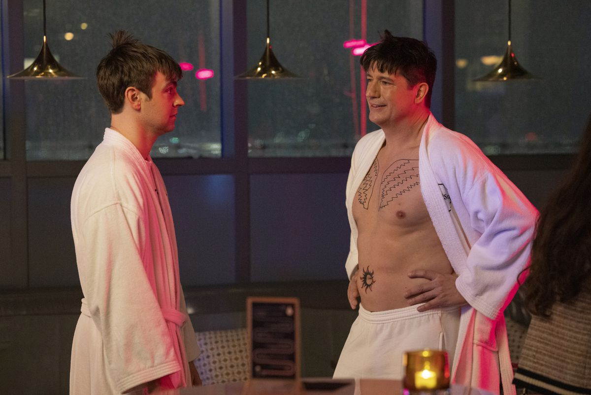 Streeter Peters reveals he's got new angel wing tattoos on his chest to the shocked Cary Dubak in the HBO Max comedy The Other Two.