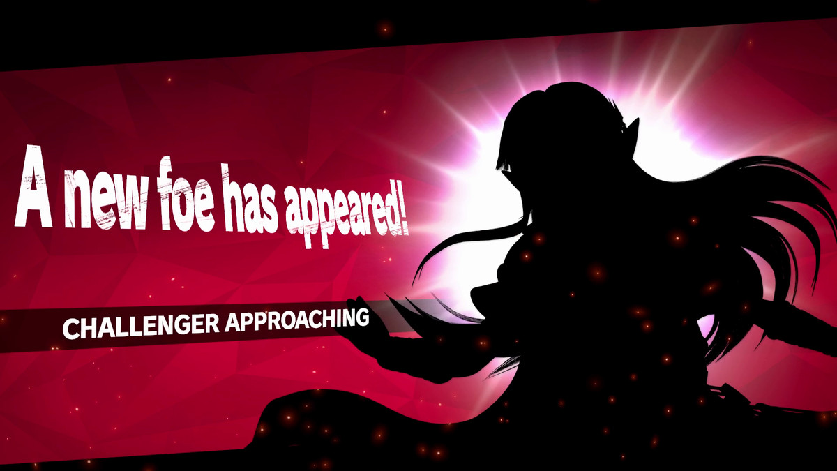 A silhouette of Zelda as a challenger approaching in Super Smash Bros. Ultimate