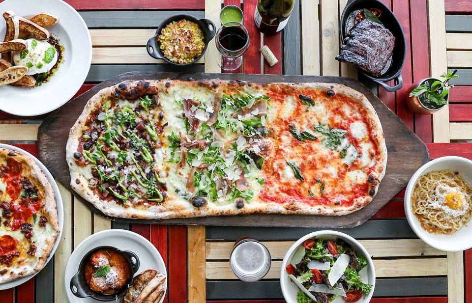 The giant pie from Cane Rosso, plus other dishes and drinks