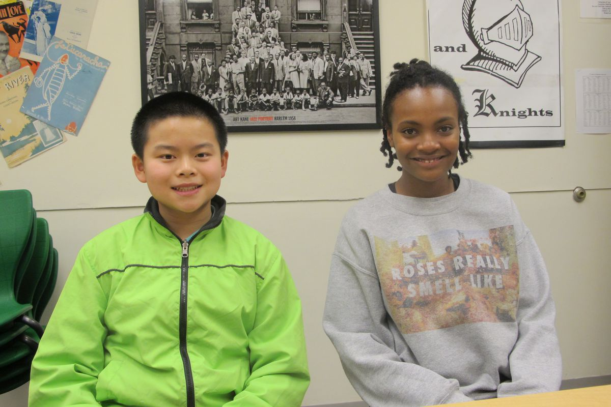 Ellis Wu and Maya Holtham learn about the high school admissions process through Breakthrough New York.