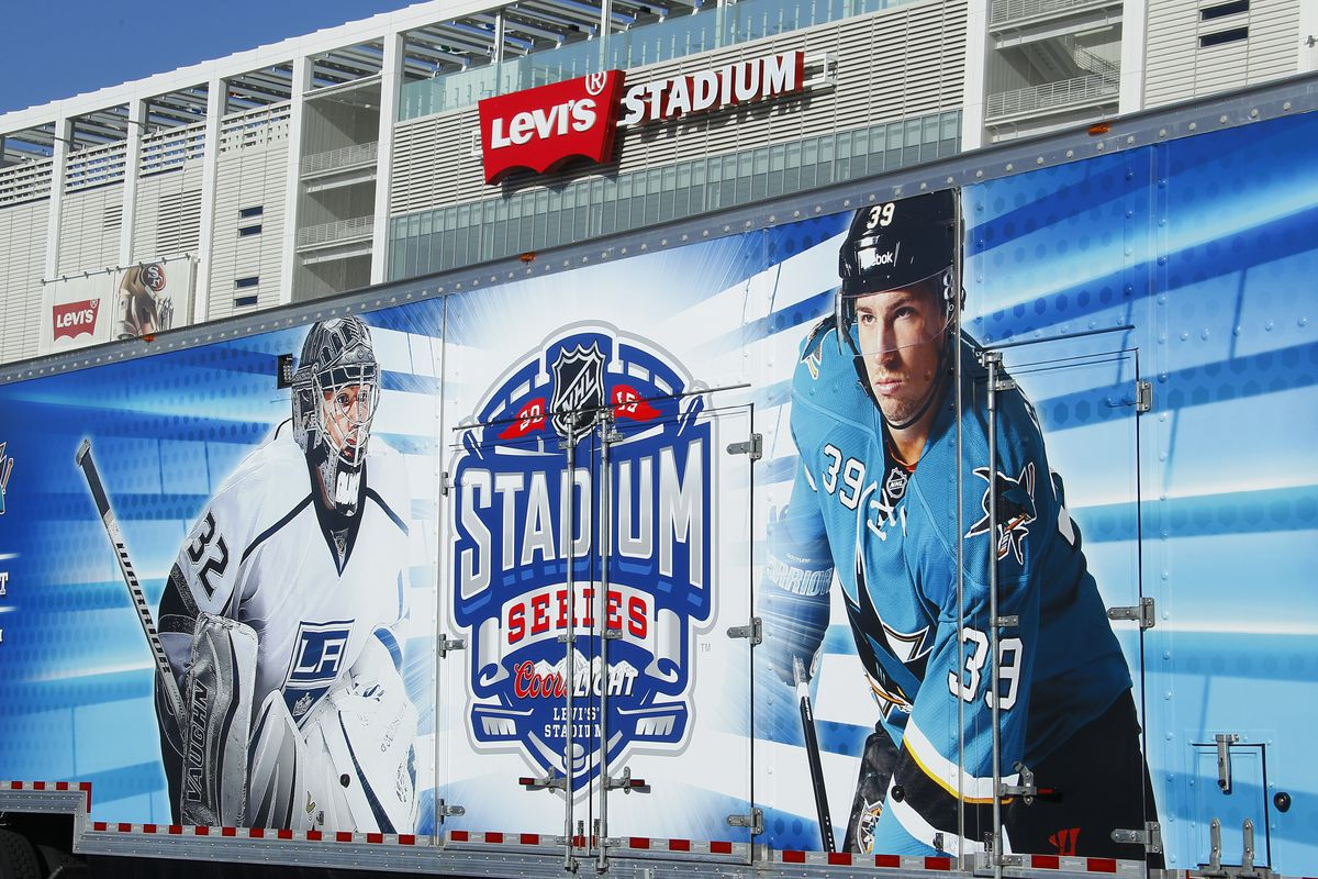 SANTA CLARA, CA - FEBRUARY 9: A shot of Jonathan Quick #32 of the Los Angeles Kings and Logan Couture #39 of the San Jose Sharks on the side of the Refrigeration truck that will begin the field transformation into a World-Class Hockey Rink during the 2015 Coors Light NHL Stadium Series Rink Build Press Event at Levi Stadium on February 9, 2015 in Santa Clara, California.
