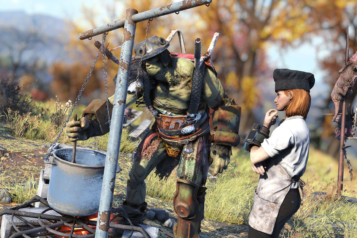 A green, muscular Super Mutant with a colander on its head stirs a pot as a bemused player wearing a chef's toque looks on
