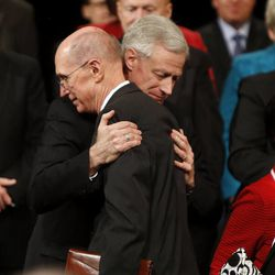 Kevin J Worthen hugs President Henry B. Eyring of the First Presidency of The Church of Jesus Christ of Latter-day Saints at the end of a devotional in Provo Tuesday, March 11, 2014, where it was announced that Worthen was to become Brigham Young University's 13th president.
