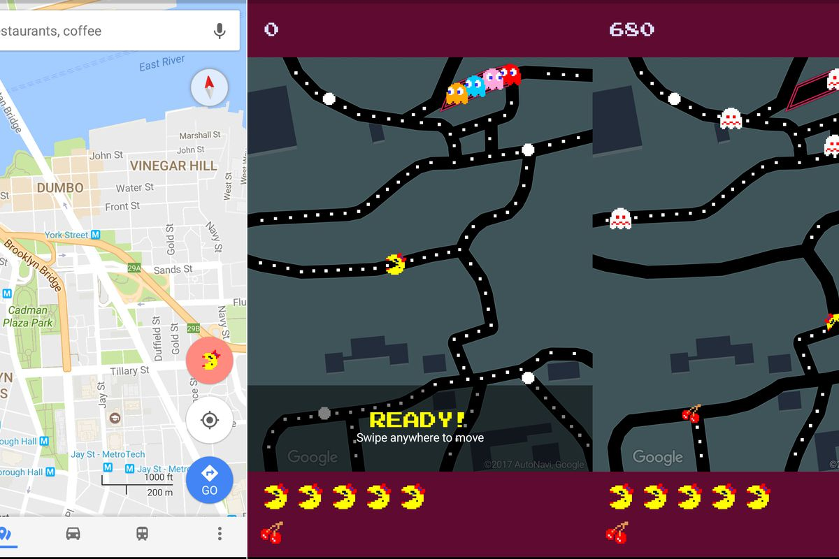 World Machine Google Maps. Natt Garun  The Verge Google Maps morphs into Ms Pac Man for April Fools Day