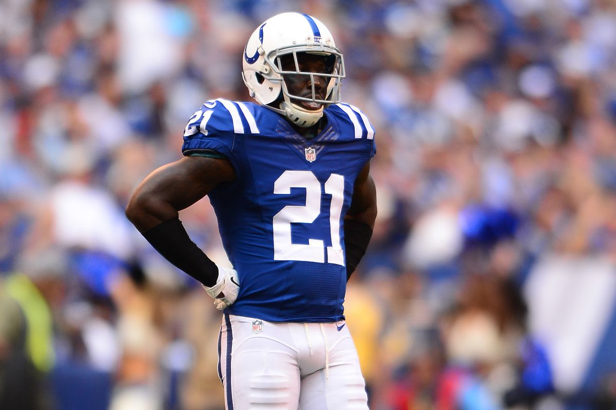 Vontae Davis in a Walking Boot Stampede Blue