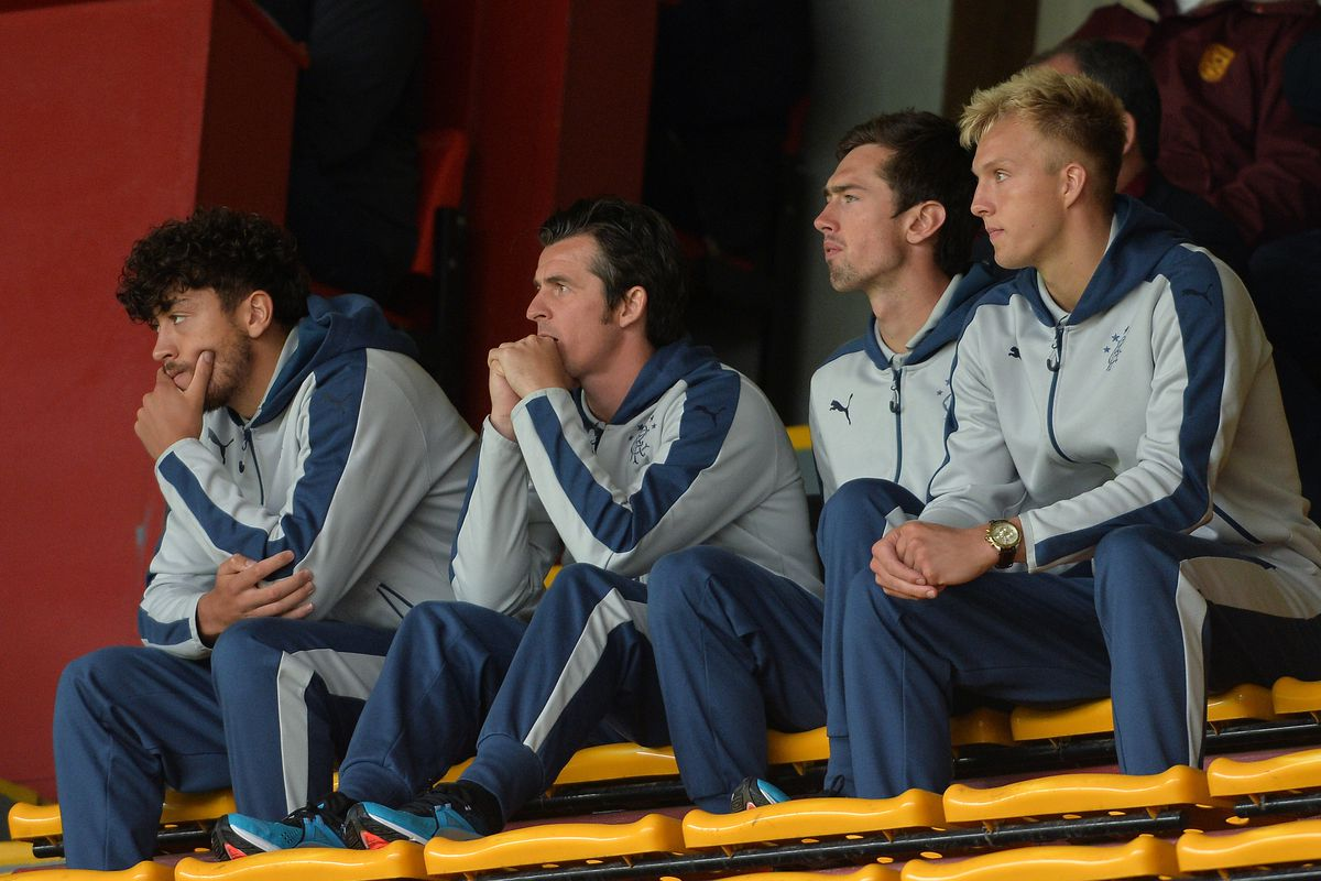 Joey Barton watches the 2-0 win at Motherwell