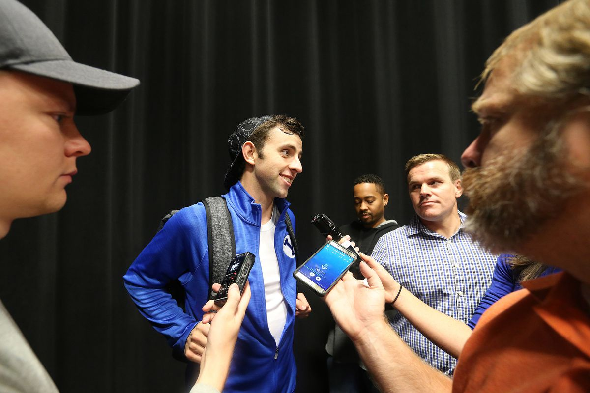 Nick Emery talks with media during BYU basketball media day in Provo on Thursday, Oct. 5, 2017.