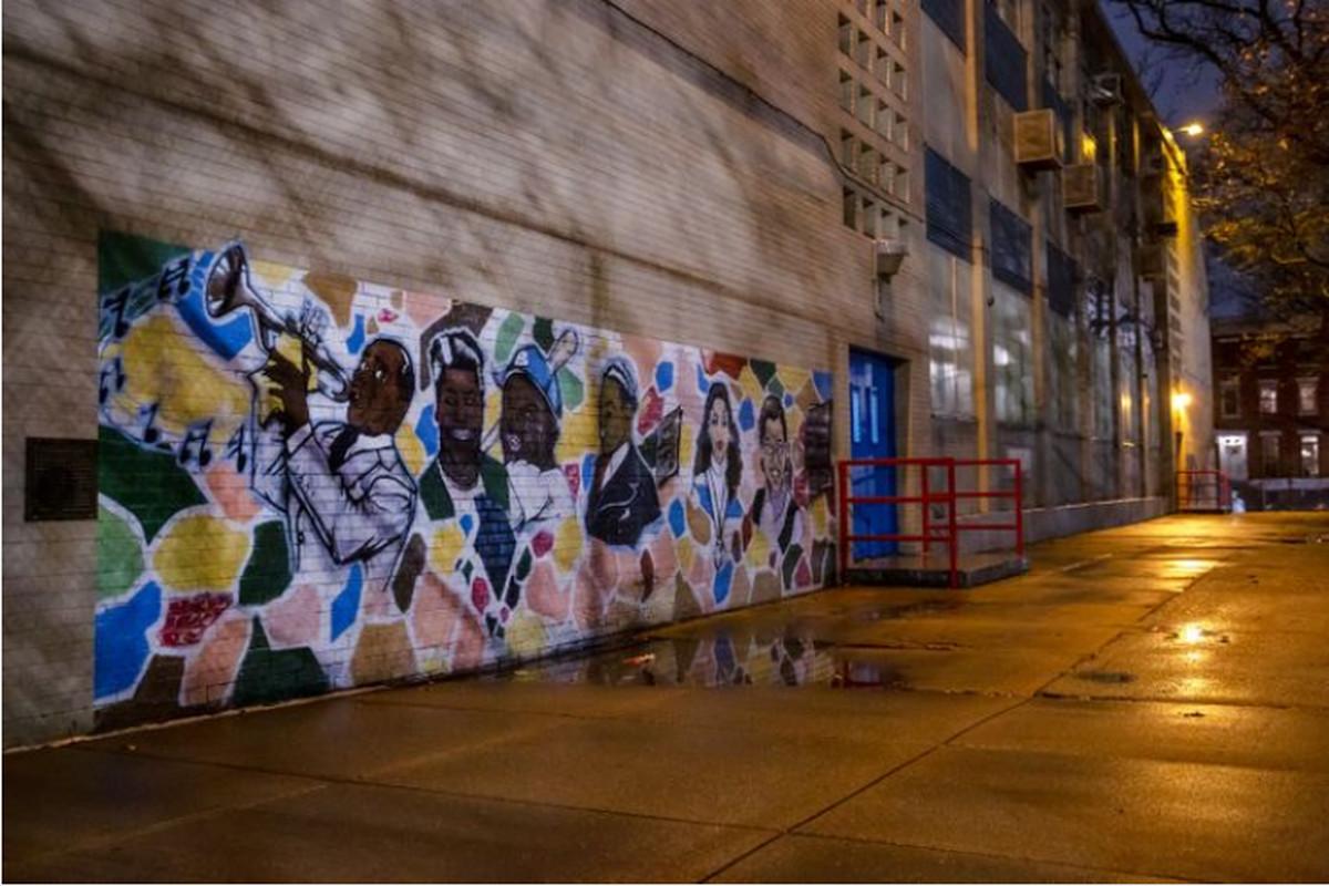 A mural on the wall of Public School 305 in Bedford-Stuyvesant, Brooklyn.