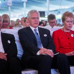 Elder D. Todd Christofferson, center, a member of the Quorum of Twelve Apostles for The Church of Jesus Christ of Latter-day Saints, his wife, Sister Kathy Christofferson, and  Dr. Michael Noble, left, the ex-president of the the Noble Charitable Trust, and other dignitaries pray during an award ceremony  at the MIT World Peace university in Pune, Maharashtra, India, on August 14, 2017.