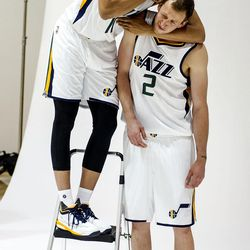 Utah Jazz guard Dante Exum gives a nuggy to forward Joe Ingles during Media Day at Zions Bank Basketball Center in Salt Lake City on Monday, Sept. 26, 2016.