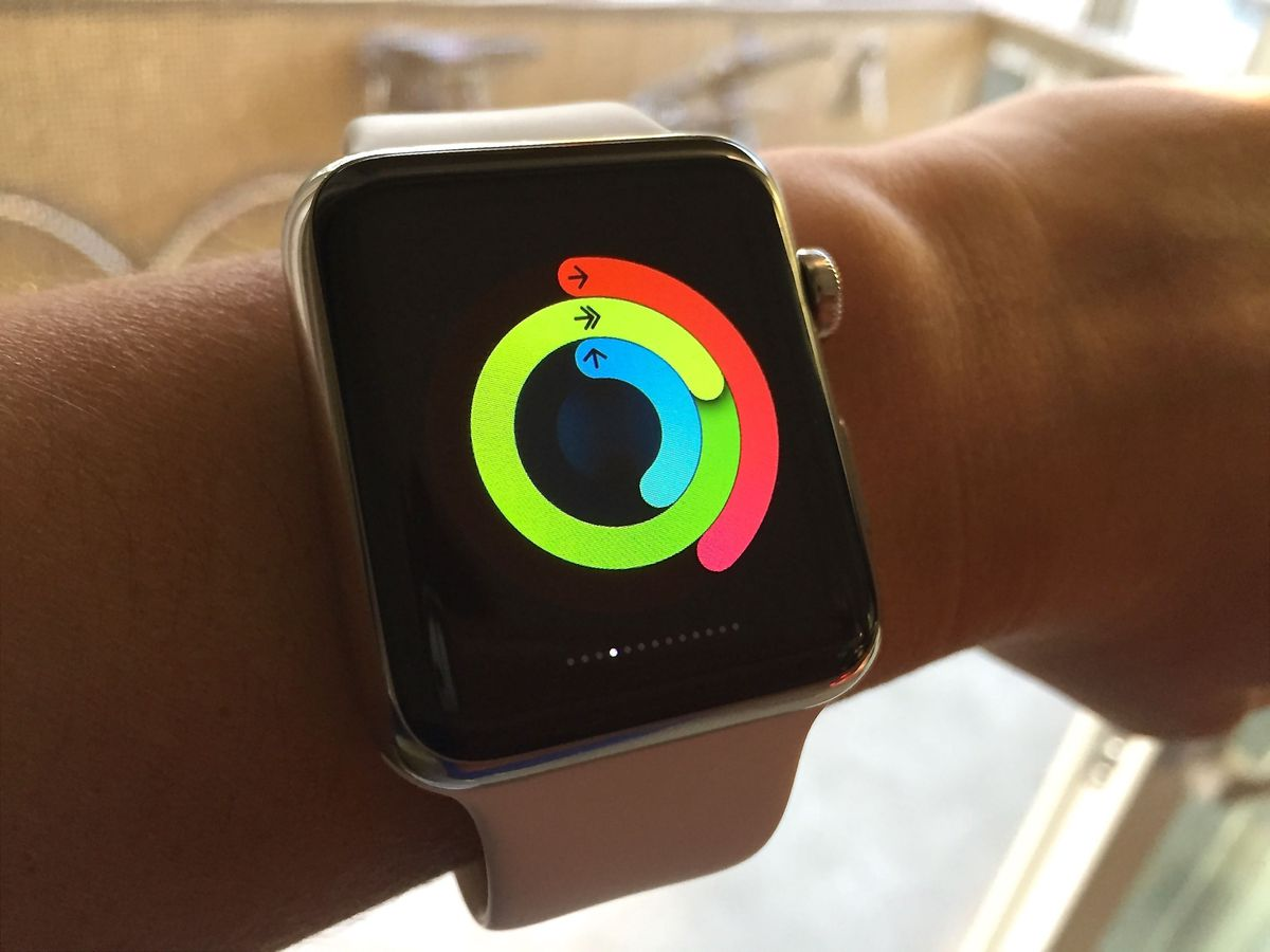A glance at the Activity app on Apple Watch shows you how much you've moved around, how many minutes you've exercised and how many times you've stood up throughout the day, through a pattern of colored rings.